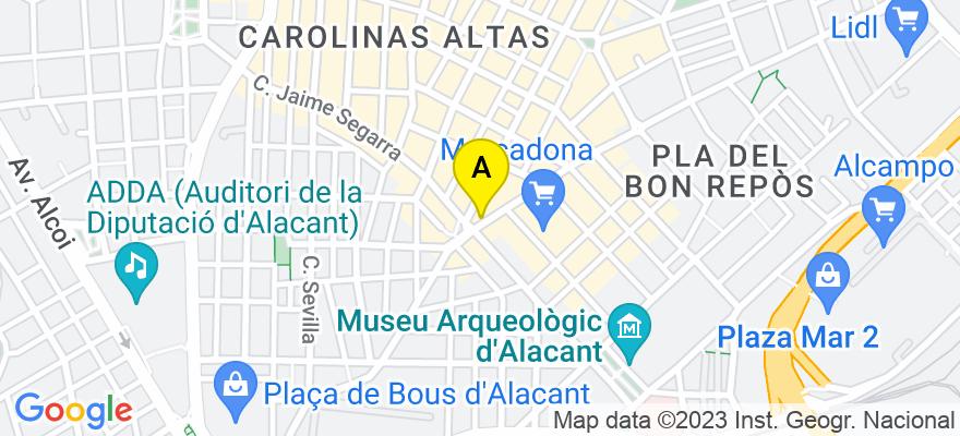situacion en el mapa de . Direccion: Avda. Padre Espla 1-1-B, 03013 Alicante. Alicante