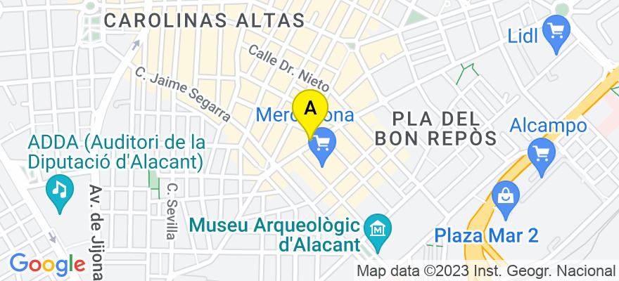 situacion en el mapa de . Direccion: Avenida Padre Espla 13, bajo, 03013 Alicante. Alicante