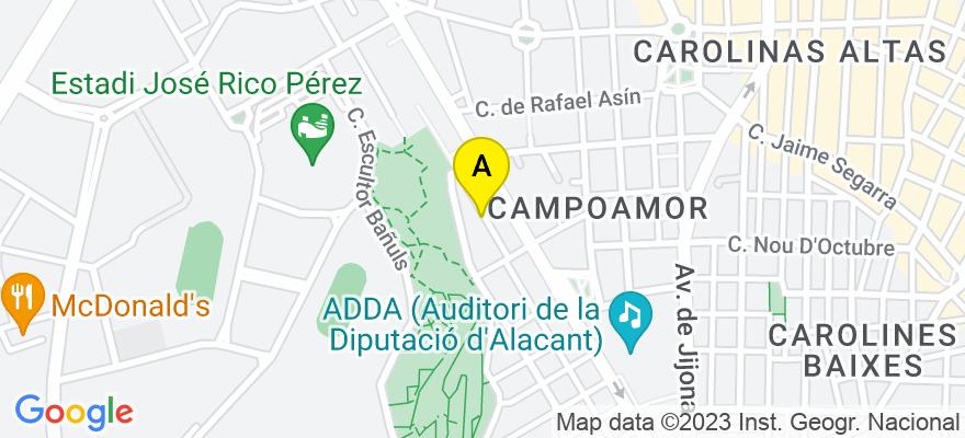 situacion en el mapa de . Direccion: Alférez Díaz Sanchís 95, 03009 Alicante. Alicante