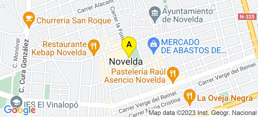 situacion en el mapa de . Direccion: Calle Nuestra Señora de la Fe, nº 27, 1ºB, 03660 Novelda. Alicante