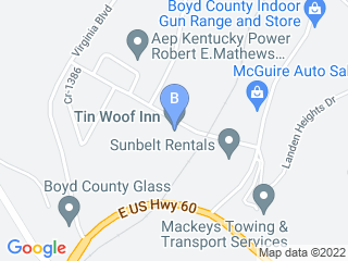 Map of Tin Woof Inn Dog Boarding options in Ashland | Boarding