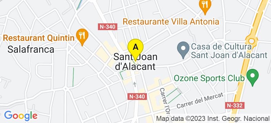 situacion en el mapa de . Direccion: Palza de la Constitucion 7 - Entrlo. Izq., 03550 San Juan de Alicante. Alicante