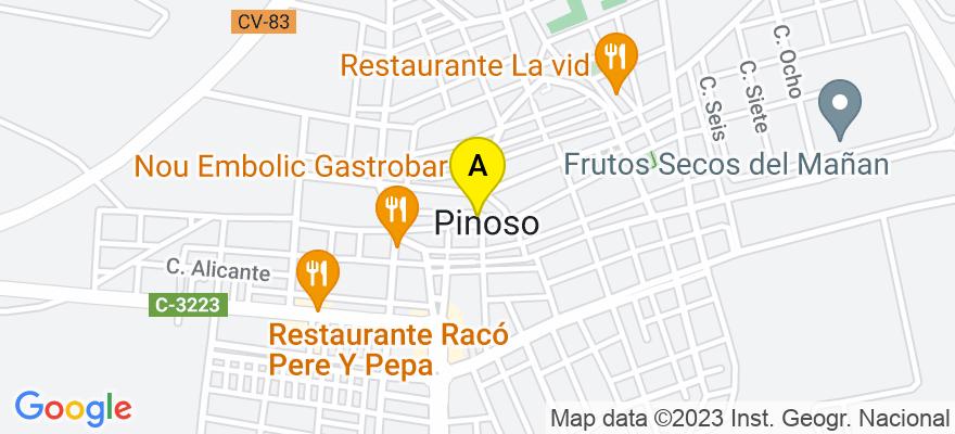 situacion en el mapa de . Direccion: Asesoría Badén Rico Lucas nº 5, 03650 El/Pinoso Pinós. Alicante