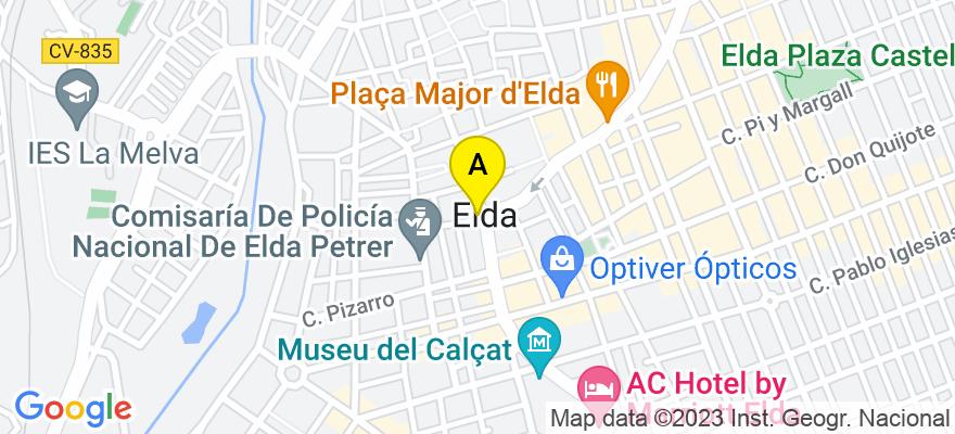 situacion en el mapa de . Direccion: C/ Juan Vázquez de Mella número, 03600 Elda. Alicante