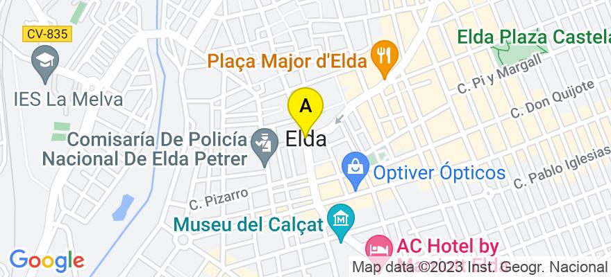 situacion en el mapa de . Direccion: C/ Pablo Iglesias 29, Entlo. A, 03600 Elda. Alicante
