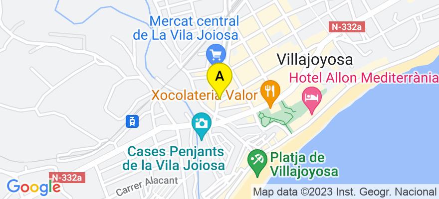 situacion en el mapa de . Direccion: Calle Colon, n 3, 1, 03570 La Villajoyosa. Alicante