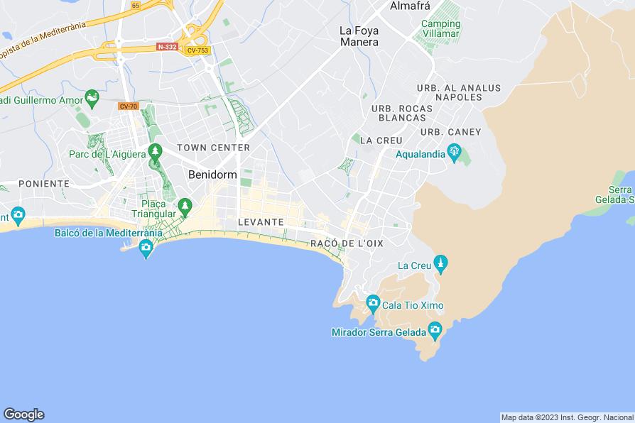 Map Of Hotels Near Levante Beach Benidorm