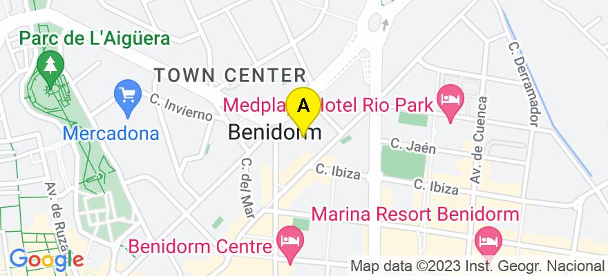 situacion en el mapa de . Direccion: Calle Limones, 8, 1-A, 03501 Benidorm. Alicante