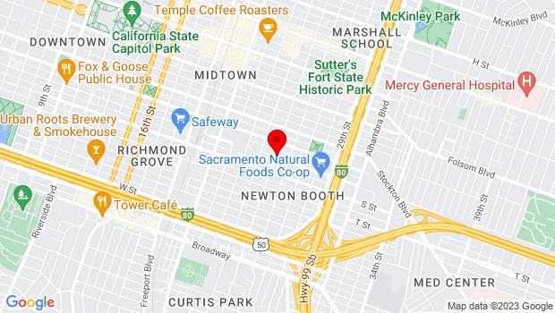 Google Map of 2509 R St, Sacramento, CA 95816
