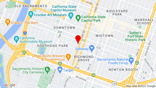Google Map of 1417 R St., Sacramento, CA 95811