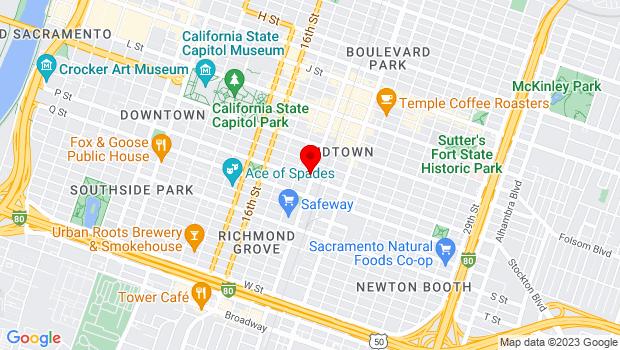 Google Map of 1831 P Street, Sacramento, CA 95811