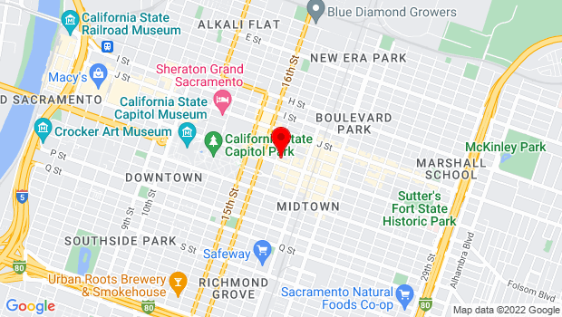 Google Map of 1701 L Street, Sacramento, CA 95811