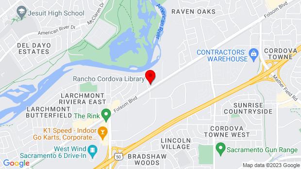 Google Map of 9845 Folsom Blvd., Sacramento, CA 95827