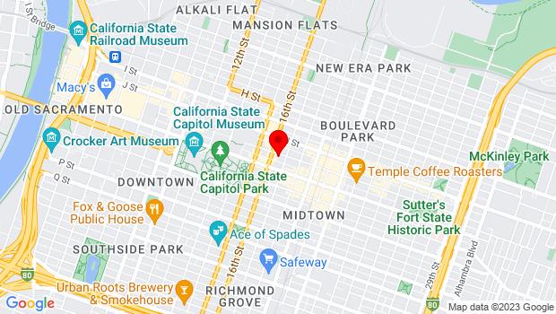 Google Map of 1614 K St., Sacramento, CA 95814