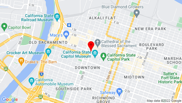 Google Map of 10th & L Streets, Sacramento, CA 95814