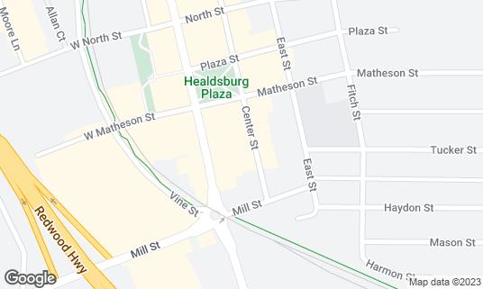 Map of Barndiva at 231 Center St Healdsburg, CA