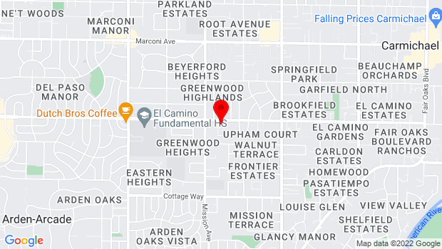 Google Map of 4746 El Camino Ave., Carmichael, CA 95608