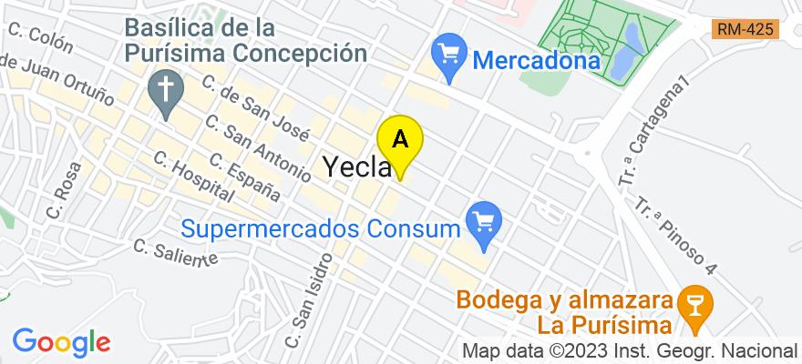 situacion en el mapa de . Direccion: Arcipreste Esteban Díaz 53, Entlo., 30510 Yecla. Murcia