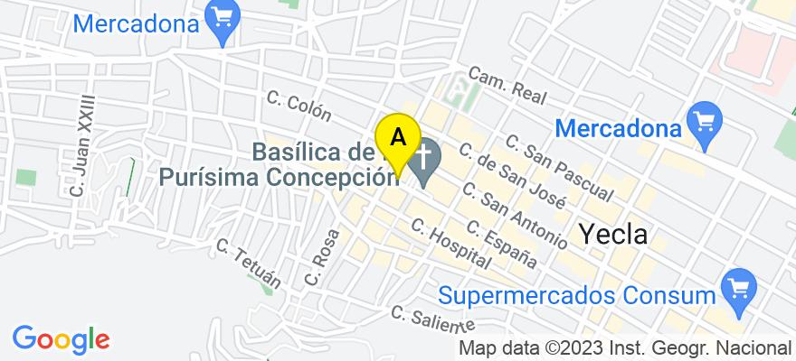 situacion en el mapa de . Direccion: Calle Juan Ortuño, 2, 30510 Yecla. Murcia