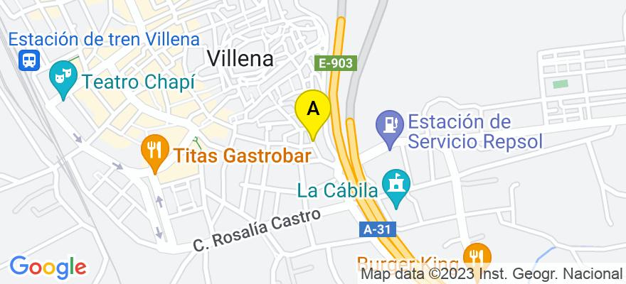 situacion en el mapa de . Direccion: Plaza de Biar nº 11, 03400 Villena. Alicante