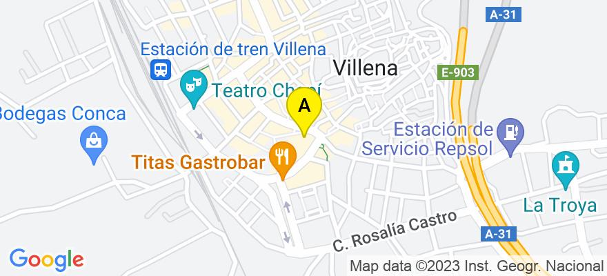 situacion en el mapa de . Direccion: c/ Corredera 1, 03400 Villena. Alicante