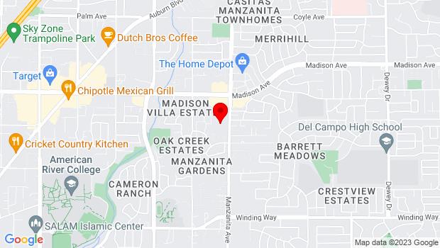 Google Map of 5025 Manzanita Ave., Carmichael, CA 95608