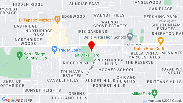 Google Map of 11601 Fair Oaks Blvd., Fair Oaks, CA 95628