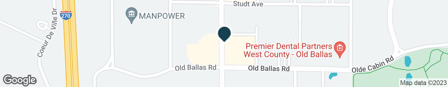 Google Map of628 N NEW BALLAS RD