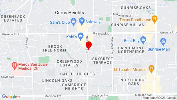 Google Map of 5944 San Juan Ave, Citrus Heights, CA 95610