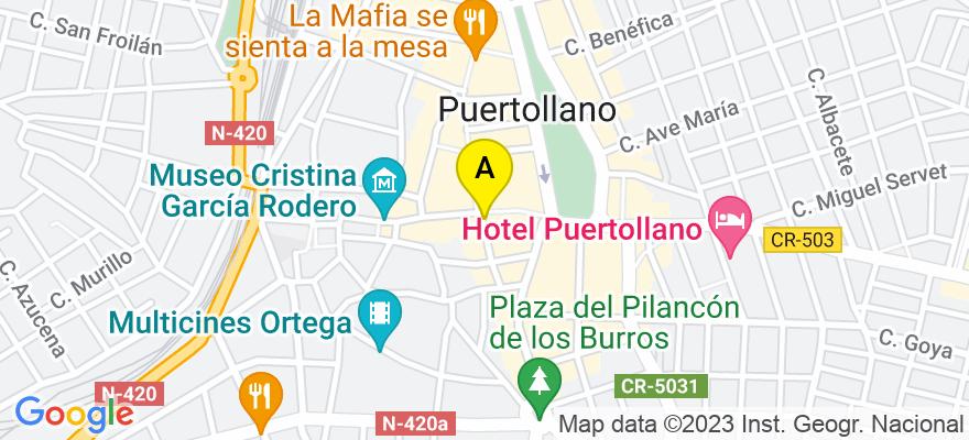 situacion en el mapa de . Direccion: C/ santisimo, n 16, 1 B, 13500 Puertollano. Ciudad Real