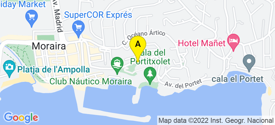 situacion en el mapa de . Direccion: Avenida del Portet nº 52, 03724 Teulada. Alicante