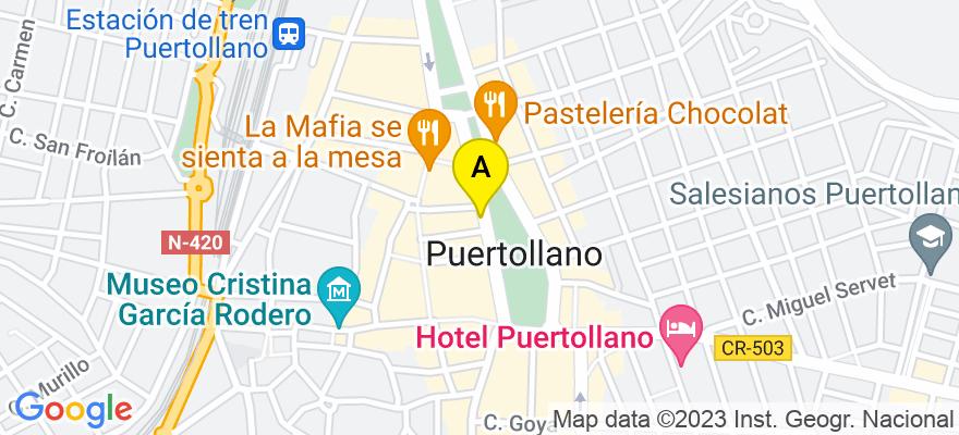 situacion en el mapa de . Direccion: Avenida Primero de Mayo, 90 local, 13500 Puertollano. Ciudad Real