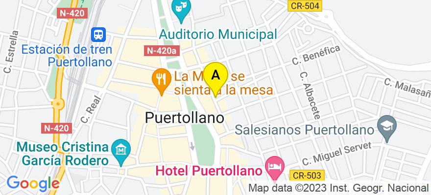 situacion en el mapa de . Direccion: C/ Madrid 1,1A, 13500 Puertollano. Ciudad Real