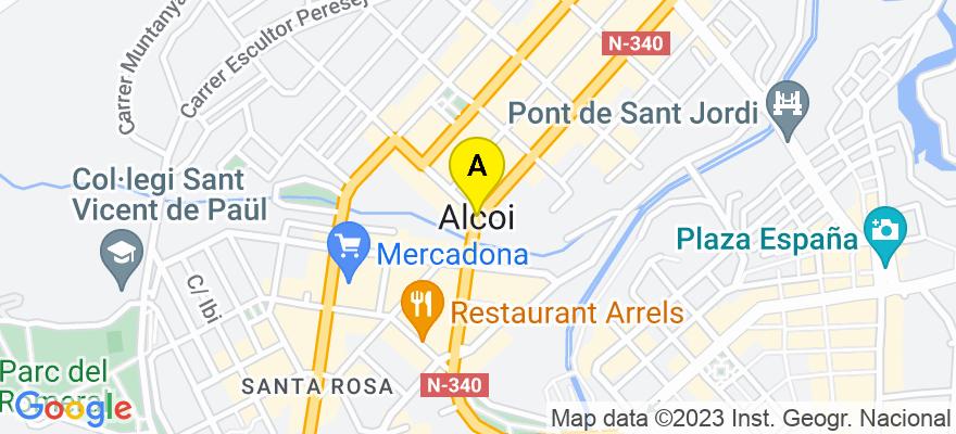 situacion en el mapa de . Direccion: Avda. Pais Valencia num. 68, Piso 1, Pta A, 03800 Alcoy/Alcoi. Alicante