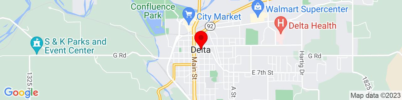 Google Map of 38.742222222222225, -108.06888888888888