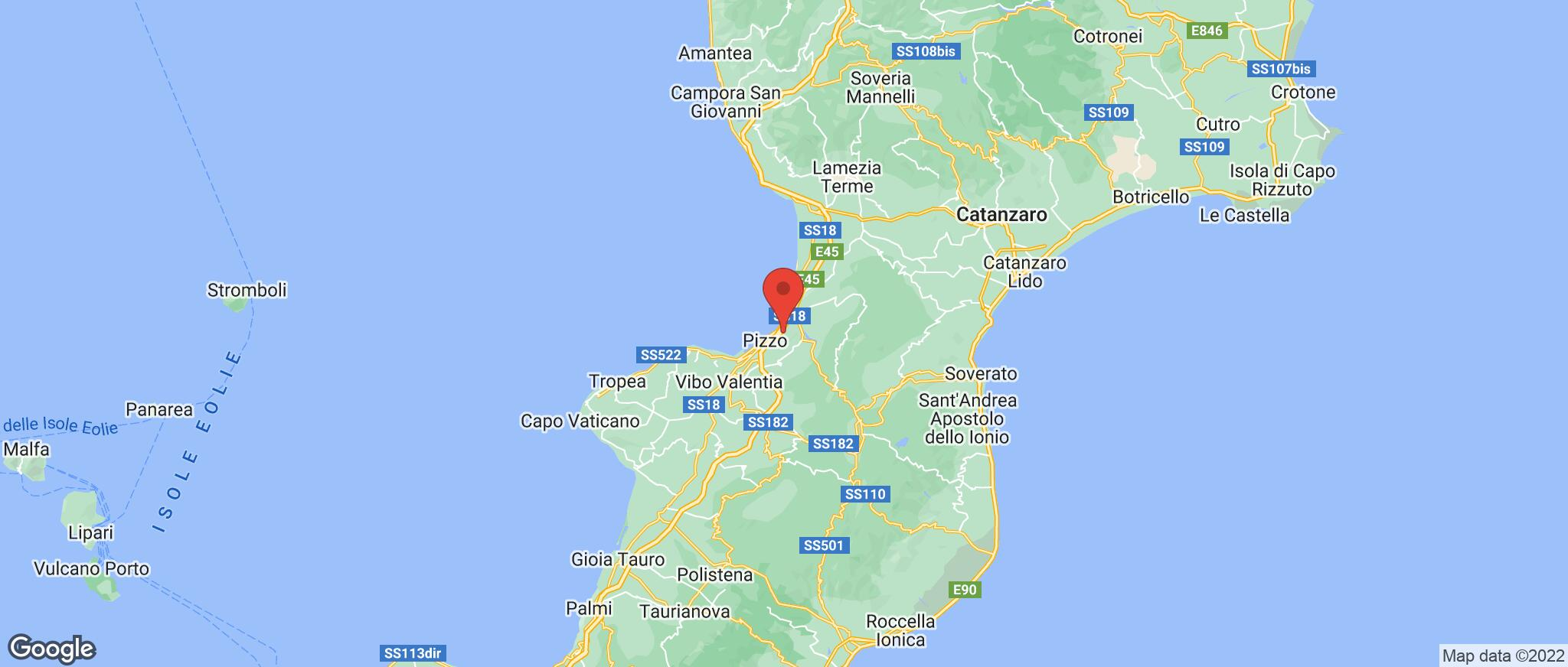 Map showing the location of Pizzo Calabro