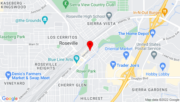 Google Map of 105 Vernon St., Roseville, CA 95678