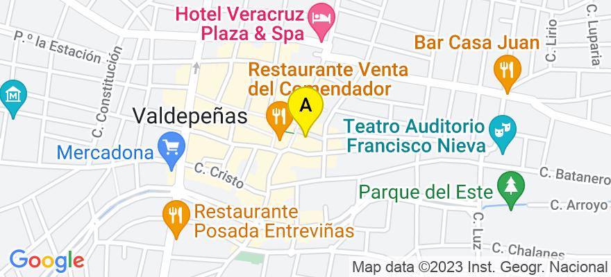 situacion en el mapa de . Direccion: calle cruz verde 2 oficina 1, 13300 Valdepeñas. Ciudad Real