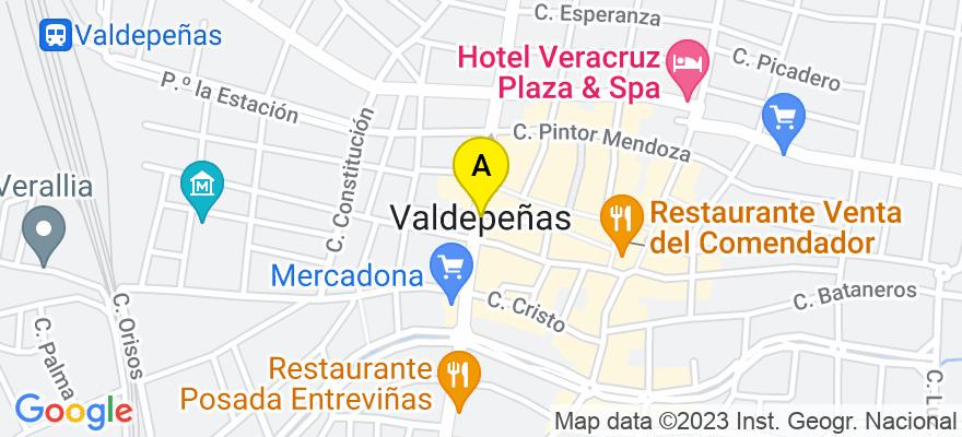 situacion en el mapa de . Direccion: Castellanos 23, 2ª Planta, 13300 Valdepeñas. Ciudad Real