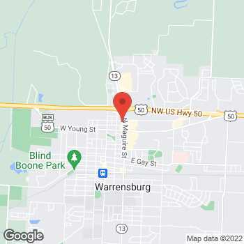 Map of Verizon Authorized Retailer - TCC at 800 N Maguire St, Warrensburg, MO 64093
