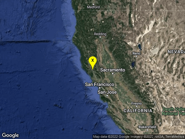 earthquake 7km E of Cloverdale, CA