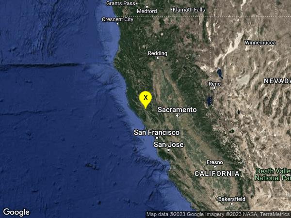 earthquake 7km E of Cloverdale, CA