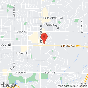 Map of Guitar Center Lessons at 535 North Academy Boulevard, Colorado Springs, CO 80909