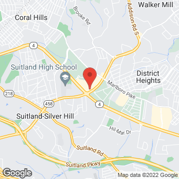 Map of Burger King at 5730 Silver Hill Rd, Forestville, MD 20747