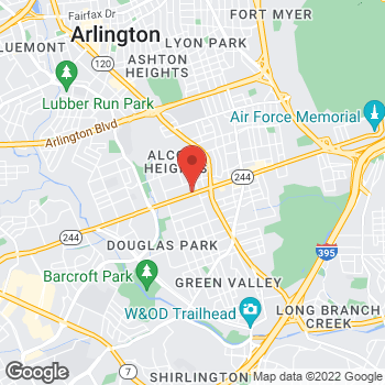 Map of Burger King at 3627 Columbia Pike, Arlington, VA 22204