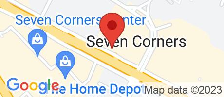 Branch Location Map - TD Bank, Seven Corners Branch, 6198 Arlington Boulevard, Falls Church VA