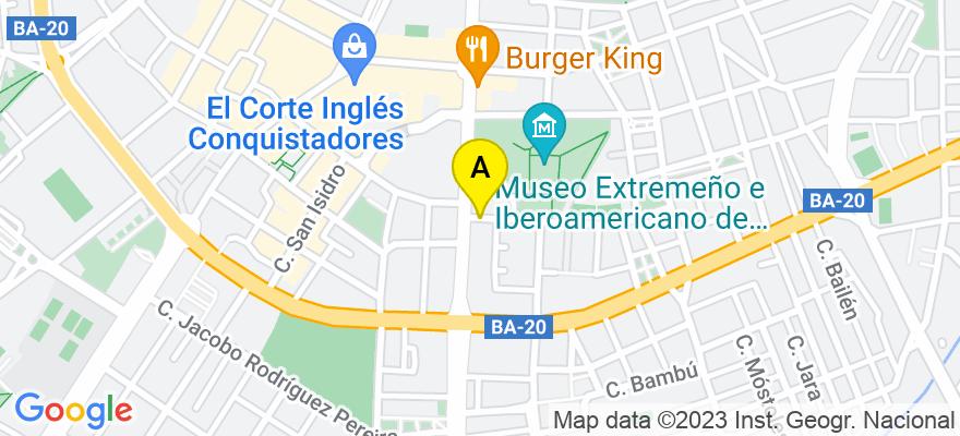 situacion en el mapa de . Direccion: C/ Virgen de Guadalupe, 2, 2º, 06004 Badajoz. Badajoz