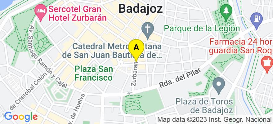 situacion en el mapa de . Direccion: Zurbarán 15, Bajo A, 06002 Badajoz. Badajoz