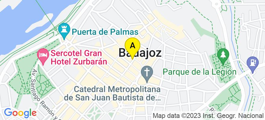 situacion en el mapa de . Direccion: plaza de los alfereces provisionales portal 2 local 10, 06005 Badajoz. Badajoz