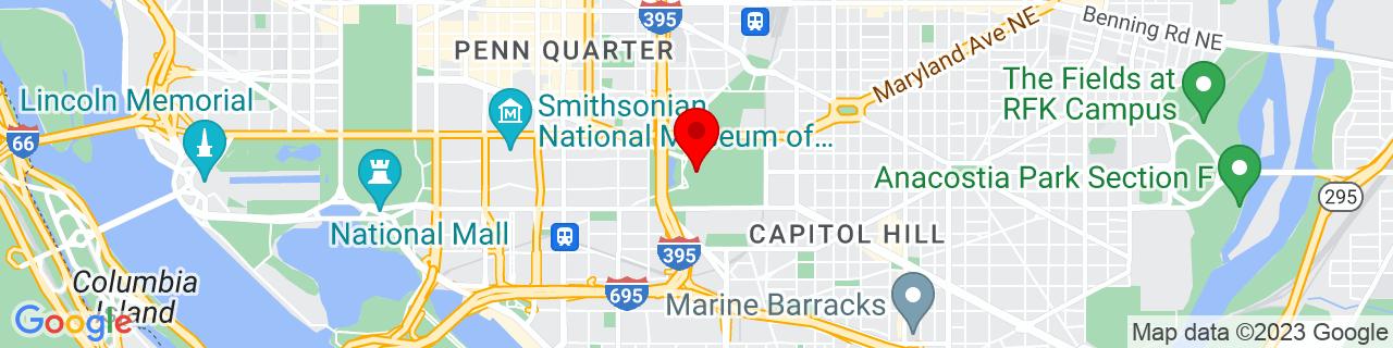 Google Map of 38.88975291658114, -77.0114137937012